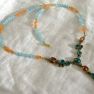 FREE SHIPPING carnelian and blue cats eye beads necklace