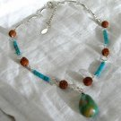 FREE SHIPPING Turquoise and rudraksh tree seed beads necklace