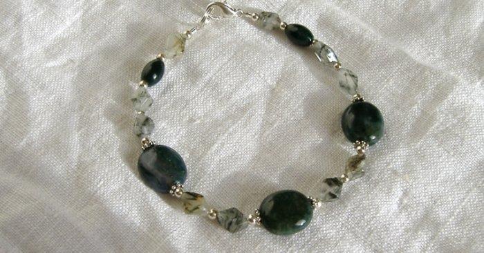 FREE SHIPPING moss agate and rutilated quartz bracelet