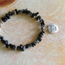 FREE SHIPPING Born to party charm bracelet with obsidian stone chips