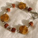 FREE SHIPPING Picture jasper and carved seeds bracelet
