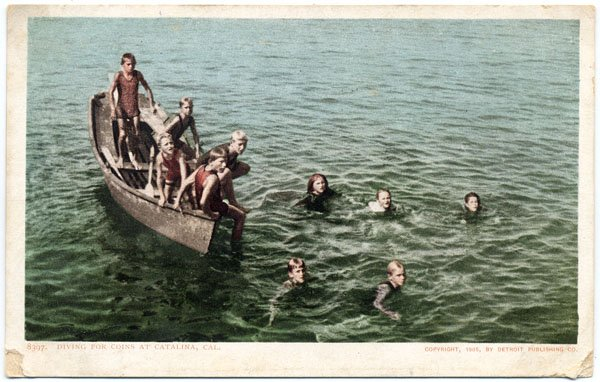 Diving for Coins at Catalina, CA c1905