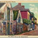 Old Charlotte Street, St. Augustine, FL Linen Postcard