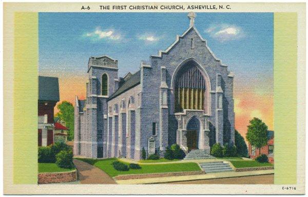 First Christian Church, Asheville, NC Linen Postcard