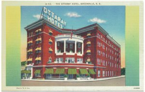The Ottaray Hotel, Greenville, SC Postcard