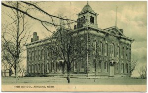 High School Building, Ashland, NE c1910 Postcard