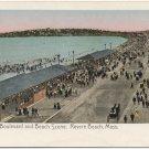 Boulevard & Beach, Revere Beach, MA 1900s Postcard