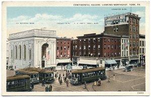 Continental Square Looking NE, York, PA c1920s Postcard