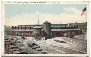 East Altoona Round House, Altoona, PA c1920s Postcard
