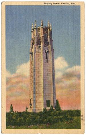 Singing Tower, Omaha, NE Linen Postcard