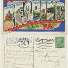 Reading, PA (Large Letter), c1937 Linen Postcard