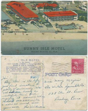 Sunny Isle Motel, Miami Beach, FL c1955 Postcard