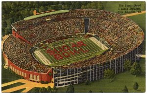 Sugar Bowl Stadium, New Orleans, LA Linen Postcard