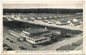 Service Club, Camp Edwards, MA 1943 Photo Postcard