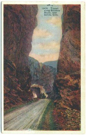 Tunnel along Rainbow Route, Salida, CO c1935 Postcard