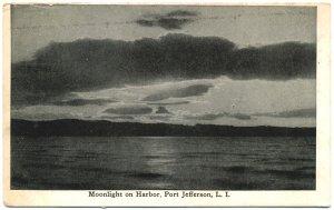 Moonlight on Harbor, Port Jefferson, Long Is. Postcard
