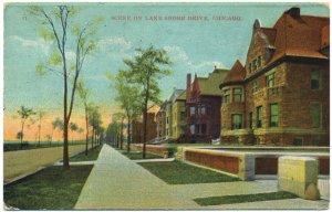 Scene on Lake Shore Drive, Chicago c1909 Postcard