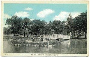 Central Park, McPherson, Kansas c1931 Postcard