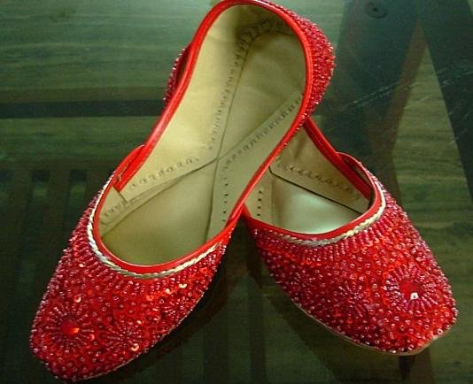 Indian Beaded Ladies shoes khussa mojari skirt