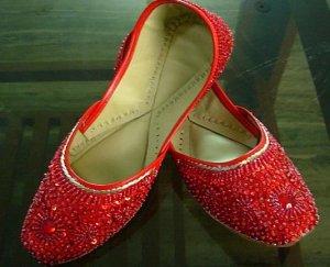 Indian Beaded Ladies shoes khussa mojari skirt