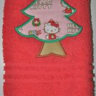 "Embroidered ""Hello Kitty Pink Christmas Tree"" Applique Christmas Hand Towel"