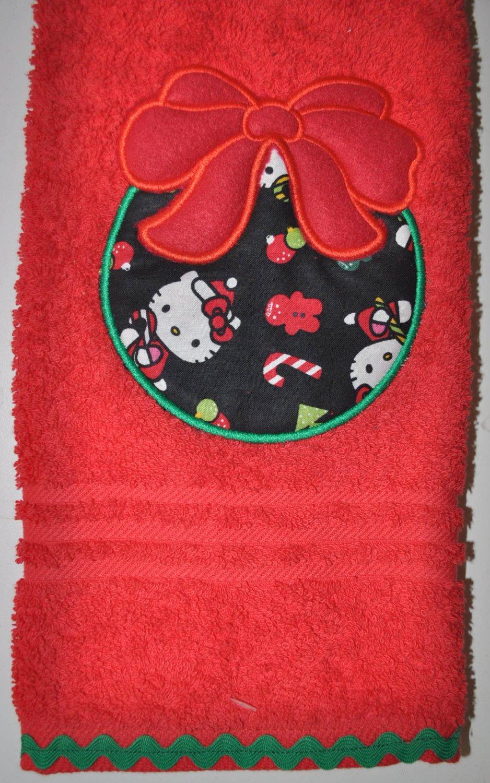 "Embroidered ""Christmas Hello Kitty Ornament"" Applique Christmas Hand ToweL"