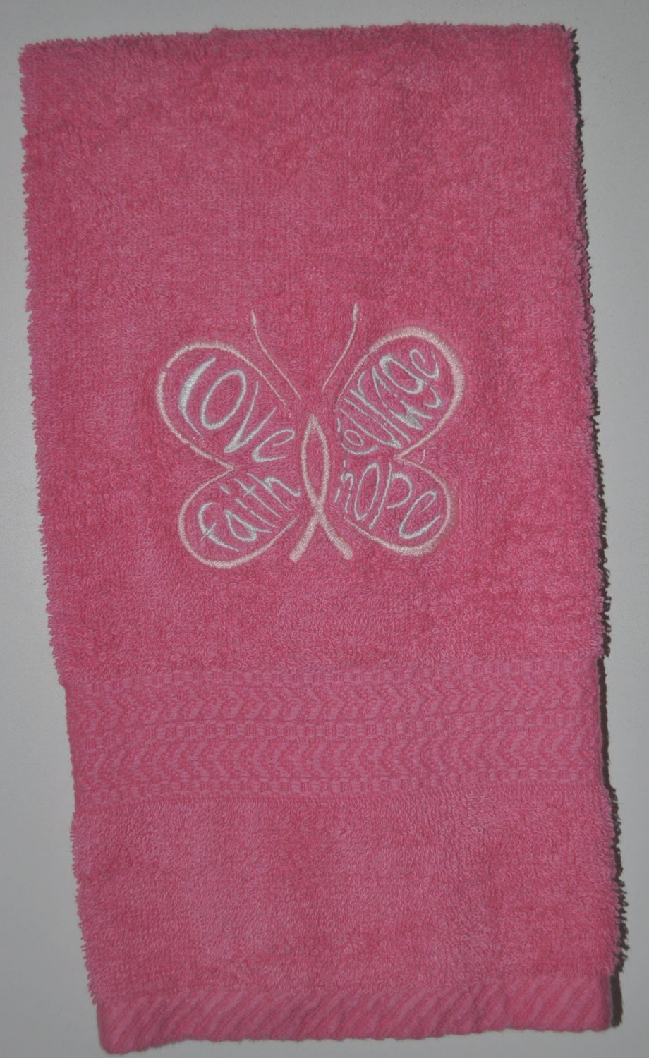 "Embroidered ""Butterfly Of Hope"" Breast Cancer Awareness Hand Towel"