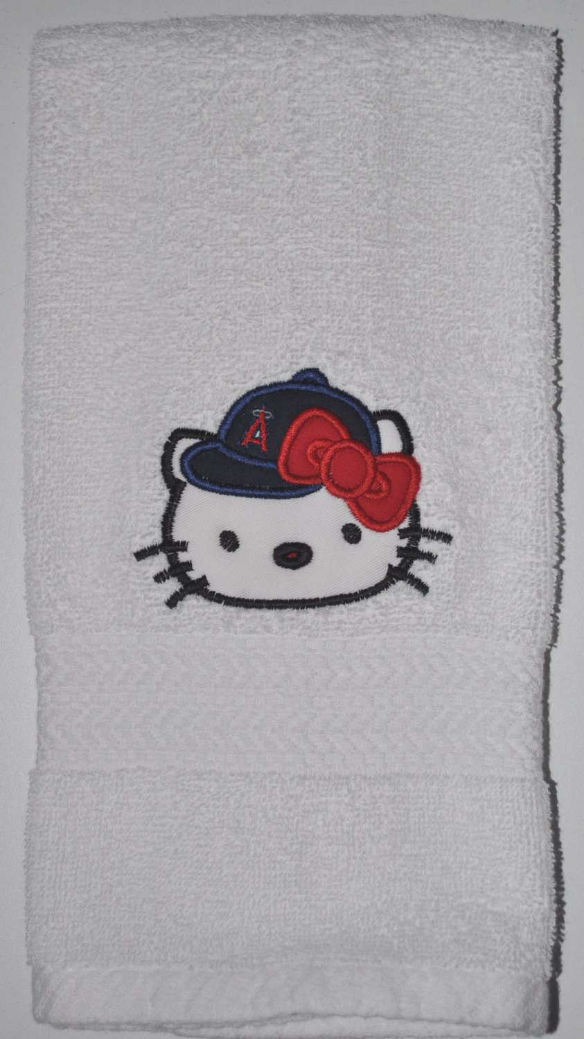Embroidered Hand Towel Hello Kitty Baseball (Los Angeles Angels)