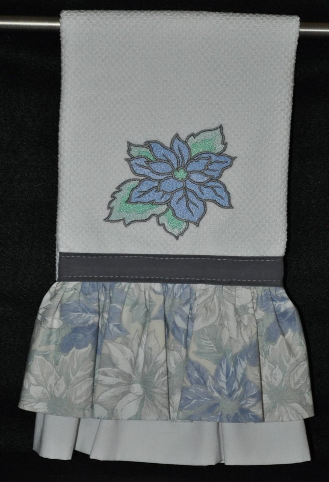 """Embroidered Dish Towel """"Blue Poinsettia"""""""