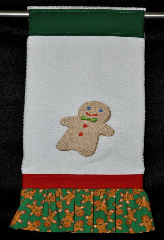 "Embroidered Dish Towel ""Gingerbread Man"""
