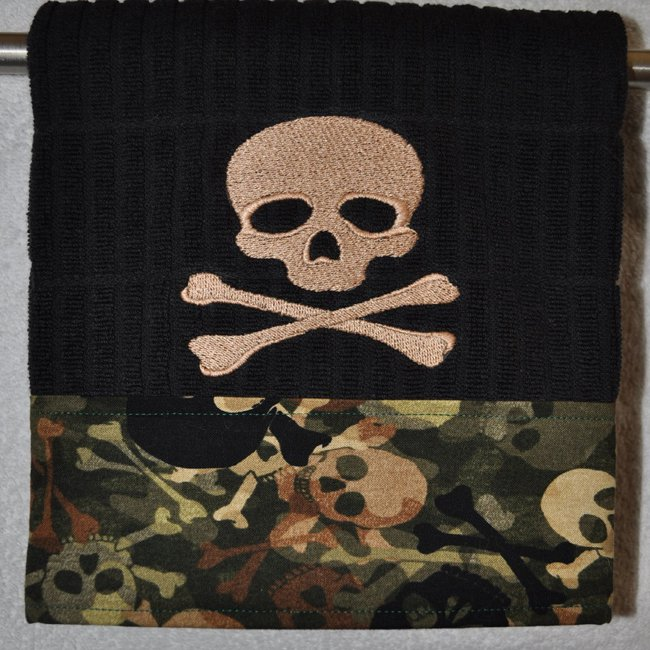 """Embroidered Dish Towel  """"Skully"""""""