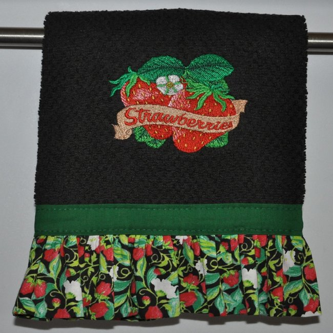 """Embroidered Dish Towel  """"Strawberries"""""""