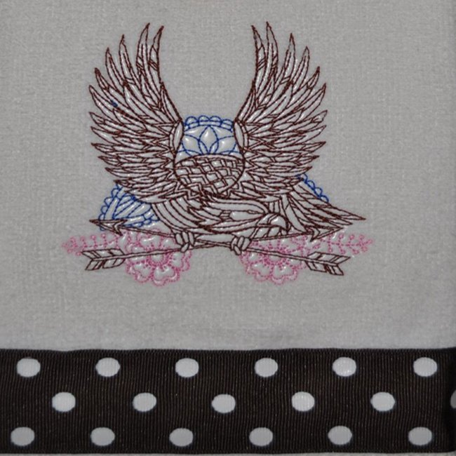 "Embroidered Dish Towel ""Mehndi Soaring Eagle"""