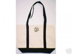 black /Natural tote bag with embroidery Name or monogram