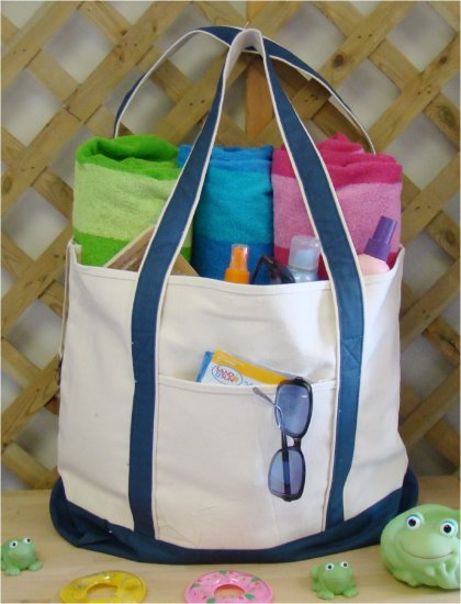 large beach tote bag (navy)