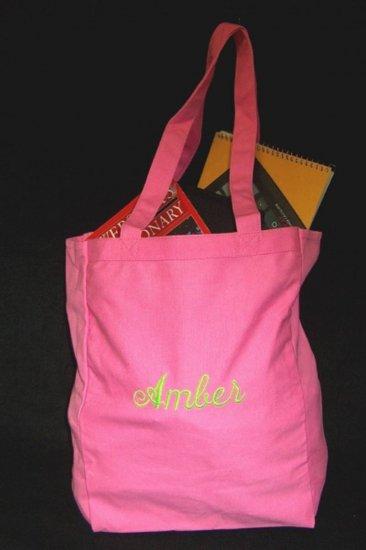 pink book tote bag