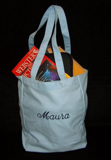 light blue book tote bag