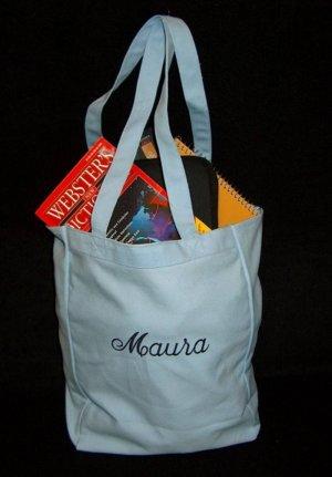 light blue book tote bag