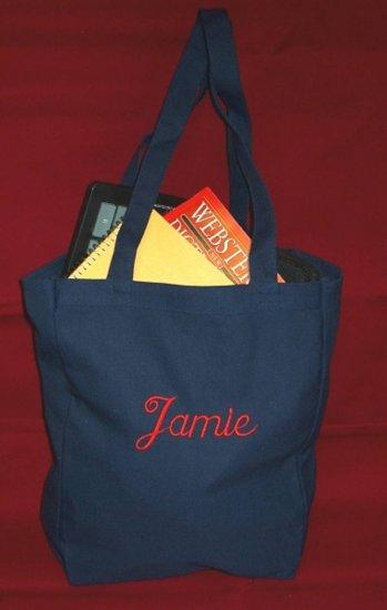 navy book tote bag