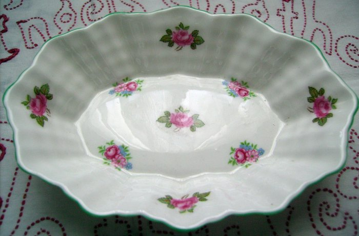 Antique Shelley Bone Chine Rosebud Dish