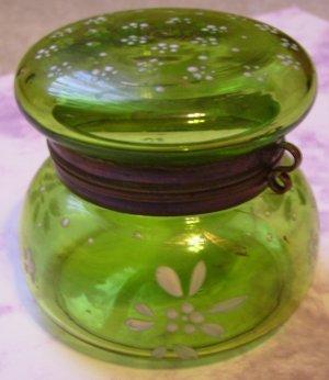 Victorian Czech Bohemian MOSER Enamel Painted Hinged Jar