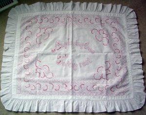 Victorian Antique Turkey Redwork Needlepoint Pillow Top