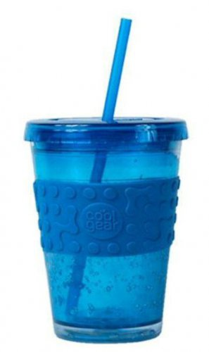 FREE USA Shipping NEW Cool Gear ECO 2 GO 16oz Chiller Drink Cup with Band & Straw Blue