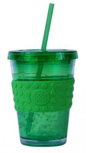 NEW Cool Gear ECO 2 GO 16oz Chiller Drink freezer gel Travel Cup Mug Band & Straw GREEN FREE USA S/H