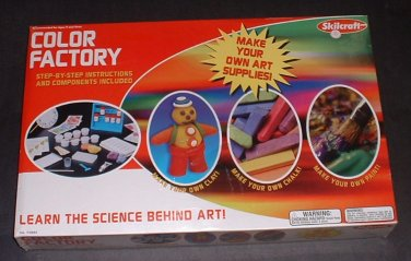 (NEW) COLOR FACTORY MAKE YOUR OWN ART SUPPLIES Clay DYES Poster PAINT Chalk Learn Science Behind Art