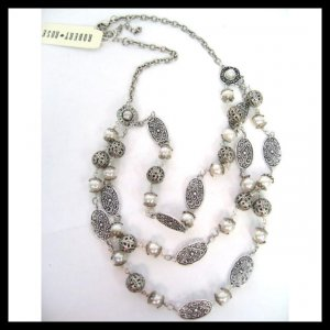 Pearl and Silver Layered Necklace