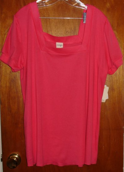 Bright Pink Fushia Blouse 3X by Energie  Square, Short Sleeve   New With Tags