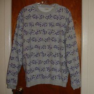 Gray Sweatshirt  with Purple Flowers Women size XL 18