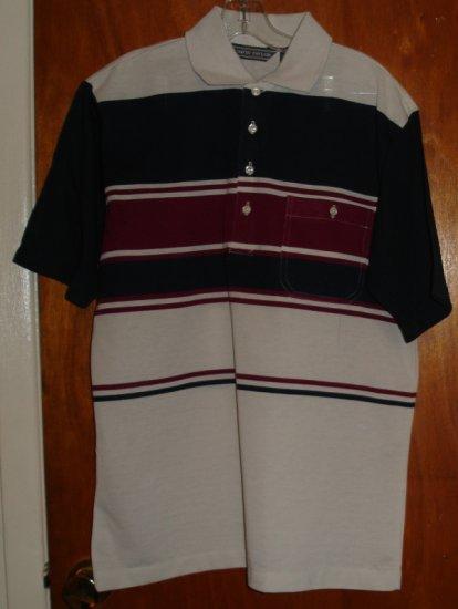 Tan, Navy and Burgandy Short Sleeve Men's shirt   size M medium   by David Taylor
