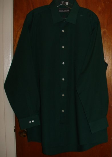 Dark Forest Green Long Sleeve Men's shirt   size 17 1/2  34/35  by David Taylor